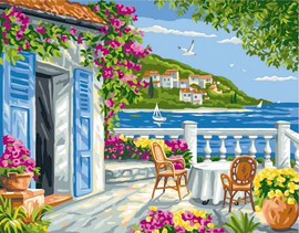 Garden Coast Scene Tapestry Canvas