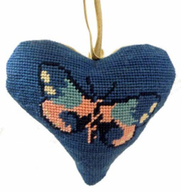 Butterfly Blue Heart Tapestry Cushion Kit By Cleopatra