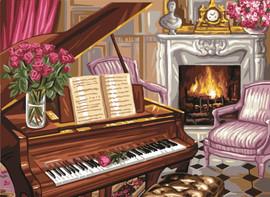 Piano Scene Tapestry Canvas
