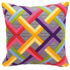 Bold Geometric  Lattice Longstitch Cushion
