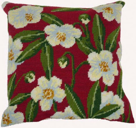 Wild Rose On Red  Tapestry Cushion Kit By Cleopatra