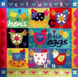 Patchwork Chicken Needle Point By Stitching Shed