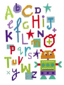 Robot Alphabet Cross Stitch Kit By Stitching Shed