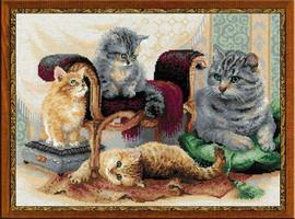 Feline Family Cross Stitch Kit By Riolis