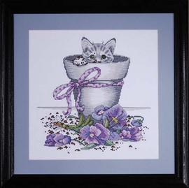 Flower Pot Kitty Cross Stitch Kit By Design Works