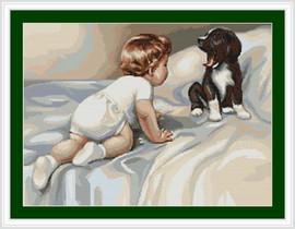 Boy With Dog Cross Stitch Kit By Luca S