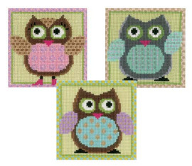 Miniatures Owl Set Of Three Cross Stitch Kits By Vervaco