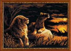 Lions In The Savannah Cross Stitch Kit