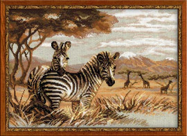 Zebras In The Savannah Cross Stitch Kit