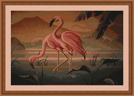 Flamingo Pair Cross Stitch Kit By Luca S