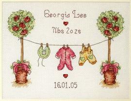 Washing Line Birth Sampler Cross Stitch Kit