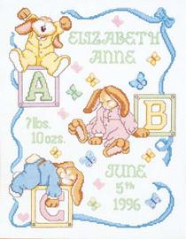 Sleepy Bunnies Birth Sampler Counted Cross Stitch Kit