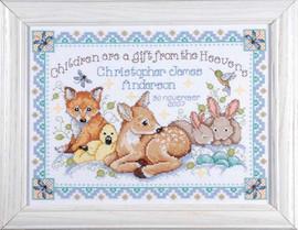 Woodland Baby Sampler Cross Stitch Kit By Design Works