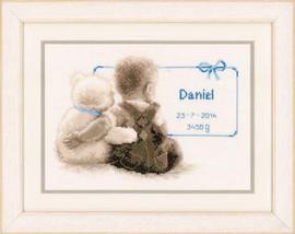 Toddler And Bear Birth Sampler Vervaco Cross Stitch Kit