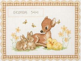 Baby Animal Birth Record Cross Stitch Kit