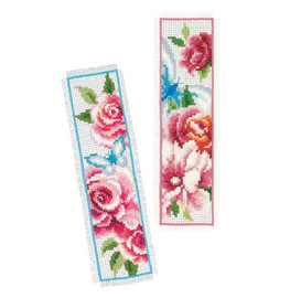 Flowers And Butterflies Bookmark Cross Stitch Kit Set Of 2 By Vervaco
