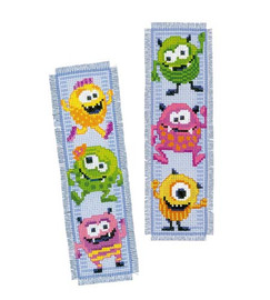 Little Monsters Bookmark Set Of Two Cross Stitch Kits By Vervaco