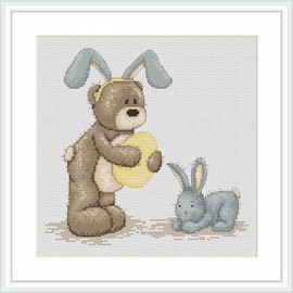 Bruno Plays Rabbit Cross Stitch Kit By Luca S
