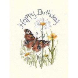 Butterfly And Daisies Card Cross Stitch Kit