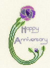 Happy Anniversary Mackintosh Rose Cross Stitch Kit