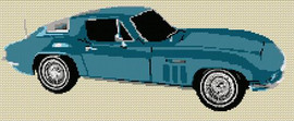 1963 Corvette Stingray Cross Stitch Kit By Stitchtastic
