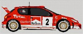 Peugeot 206 Wrc World Rally Car Cross Stitch Kit