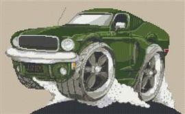 Ford Mustang Gt Bullit Car Cross Stitch Kit