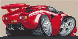 Lamborghini Countach Cross Stitch Kit