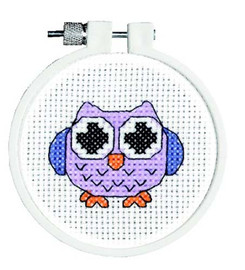 Owl Cross Stitch Kit  With Hoop By Janlynn