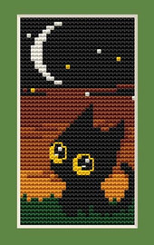 Cat Night Mini Cross Stitch Kit By Luca S