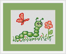 Catapillar Mini Cross Stitch Kit By Luca S