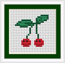 Cherries I Mini Cross Stitch Kit By Luca S