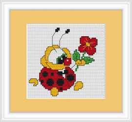 Ladybird With Flower Mini Cross Stitch Kit By Luca S