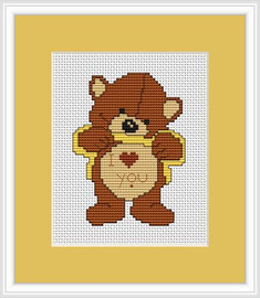 Love You Bear Mini Cross Stitch Kit By Luca S
