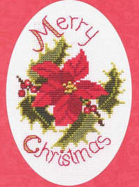 Poinsettia And Holly Card Cross Stitch Kit