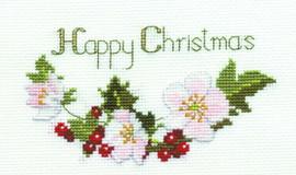 Christmas Roses Card Cross Stitch Kit