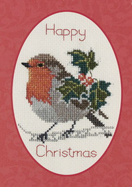 Holly And Robin Card Cross Stitch Kit