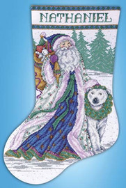 Santa And Polar Bear Stocking Cross Stitch Kit By Design Works