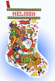 Santa Sleigh Stocking Cross Stitch Kit By Design Works