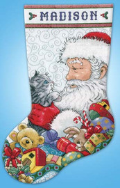Santa With Kitten Stocking Cross Stitch Kit By Design Works