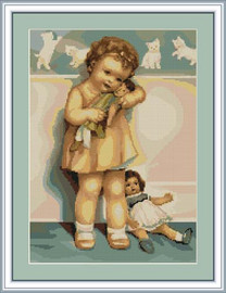 Girl With Doll Cross Stitch Kit By Luca S