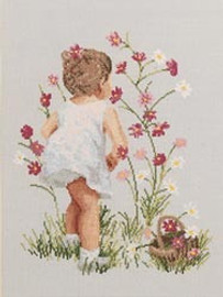 Girl With Cosmos Cross Stitch Kit