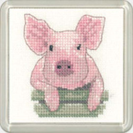 Pig Square Coaster Cross Stitch Kit