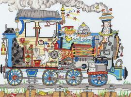 Cut Thru Steam Train Cross Stitch Kit
