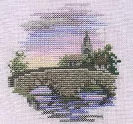 Minuets Bridge Cross Stitch Kit On Linen