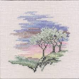 Minuets Frosty Trees Cross Stitch Kit On Linen
