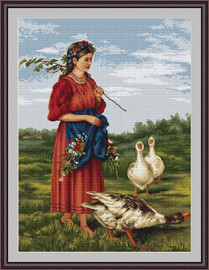 Girl With Geese Cross Stitch Kit By Luca S