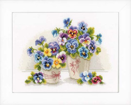 Pretty Pansies Cross Sttich Kit By Vervaco