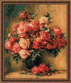 Bouquet Of Roses After Pierre Auguat Renoir Painting Cross Stitch Kit