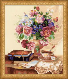 Etude With Flowers Cross Stitch Kit By Riolis
